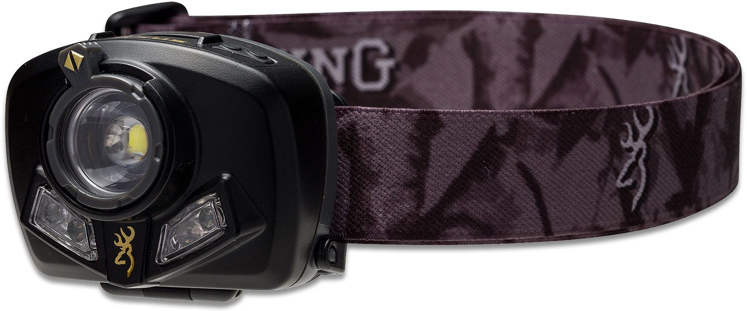 Browning Maxus 3 Color LED Headlamp, Black Polymer Body with Camo Strap, 200 Max Lumens