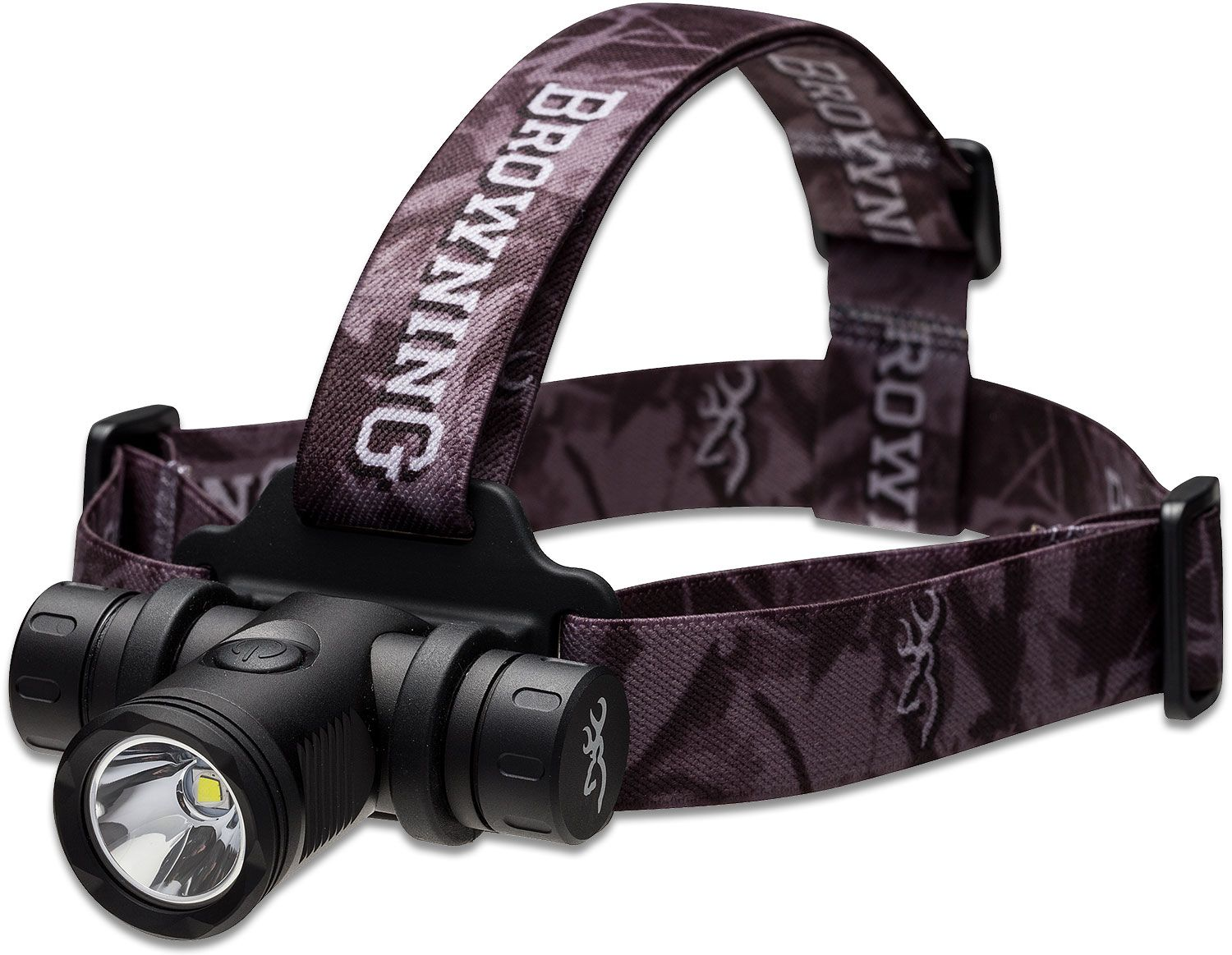 Browning Blackout 6V Rechargeable LED Headlamp, Black Aluminum Body with Camo Strap, 860 Max Lumens