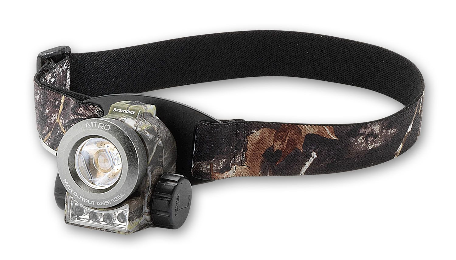 Browning Nitro USB Rechargeable Dual Fuel LED Headlamp, Camo Polymer Body and Strap, 375 Max Lumens