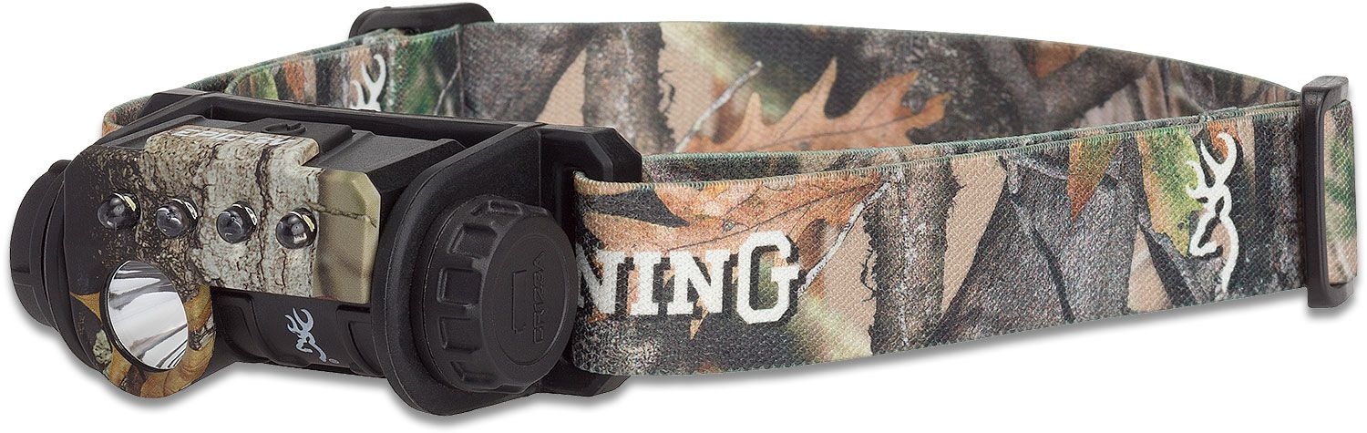 Browning Epic Elite USB Rechargeable Dual Fuel LED Headlamp, Camo Polymer Body and Strap, 335 Max Lumens