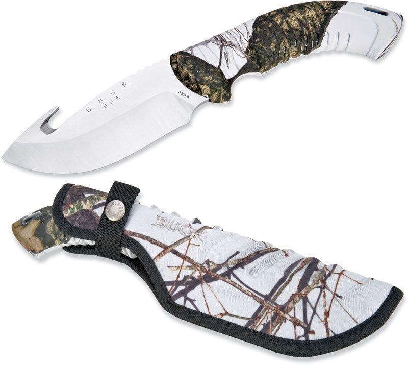 Buck Omni Hunter 12PT 4 inch Fixed Blade with Gut Hook, Mossy Oak Winter Camo Handles