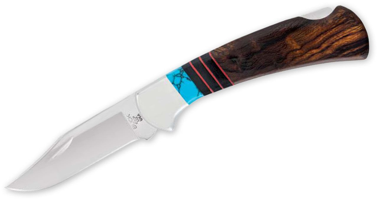 Buck Legacy Collection 112 Ranger Folding Knife 3 inch 420HC Mirror Polished Blade, Ironwood Handles with Black Micarta and Turquoise Spacers, Leather Sheath