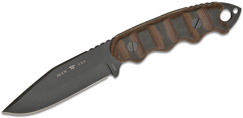 Buck 245 Matt Would Go Fixed Blade Knife 4 inch 5160 Black Cerakote Spring Steel Drop Point, Camo Micarta Handles, Kydex Sheath