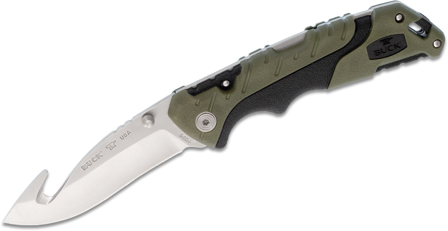 Buck 660 Large Pursuit Folding Knife 3.5 inch 420HC Stainless Steel Guthook, Green GRN and Rubber Handles, Nylon Sheath