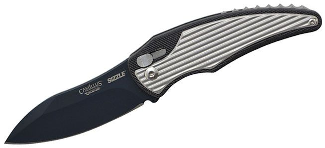 Camillus 19170 Sizzle Flipper 2.75 inch AUS-8 Drop Point Blade, Black Glass-Filled Nylon Handles