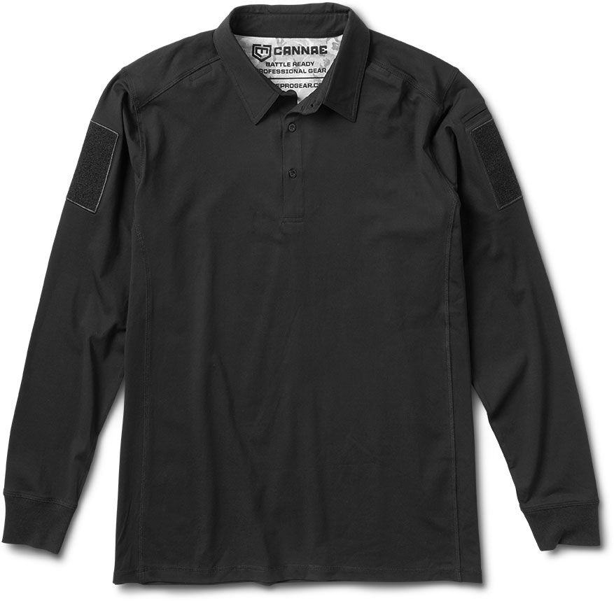 Cannae Pro Gear Professional Operator Cotton Polo, Long Sleeve, Black, Small