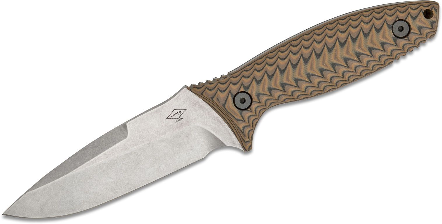 Peter Carey Production Nitro Fixed Blade Knife 4.375 inch S35VN Drop Point Blade, Milled Tan/Black G10 Handles, Kydex Sheath