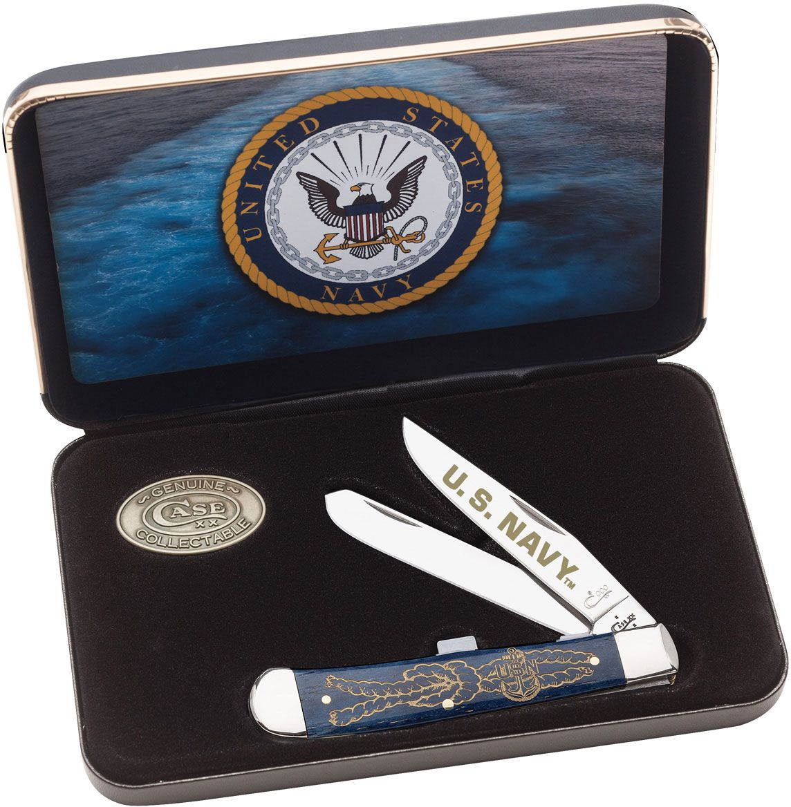 Case US Navy Smooth Navy Blue Bone Trapper Gift Set (6254 SS)