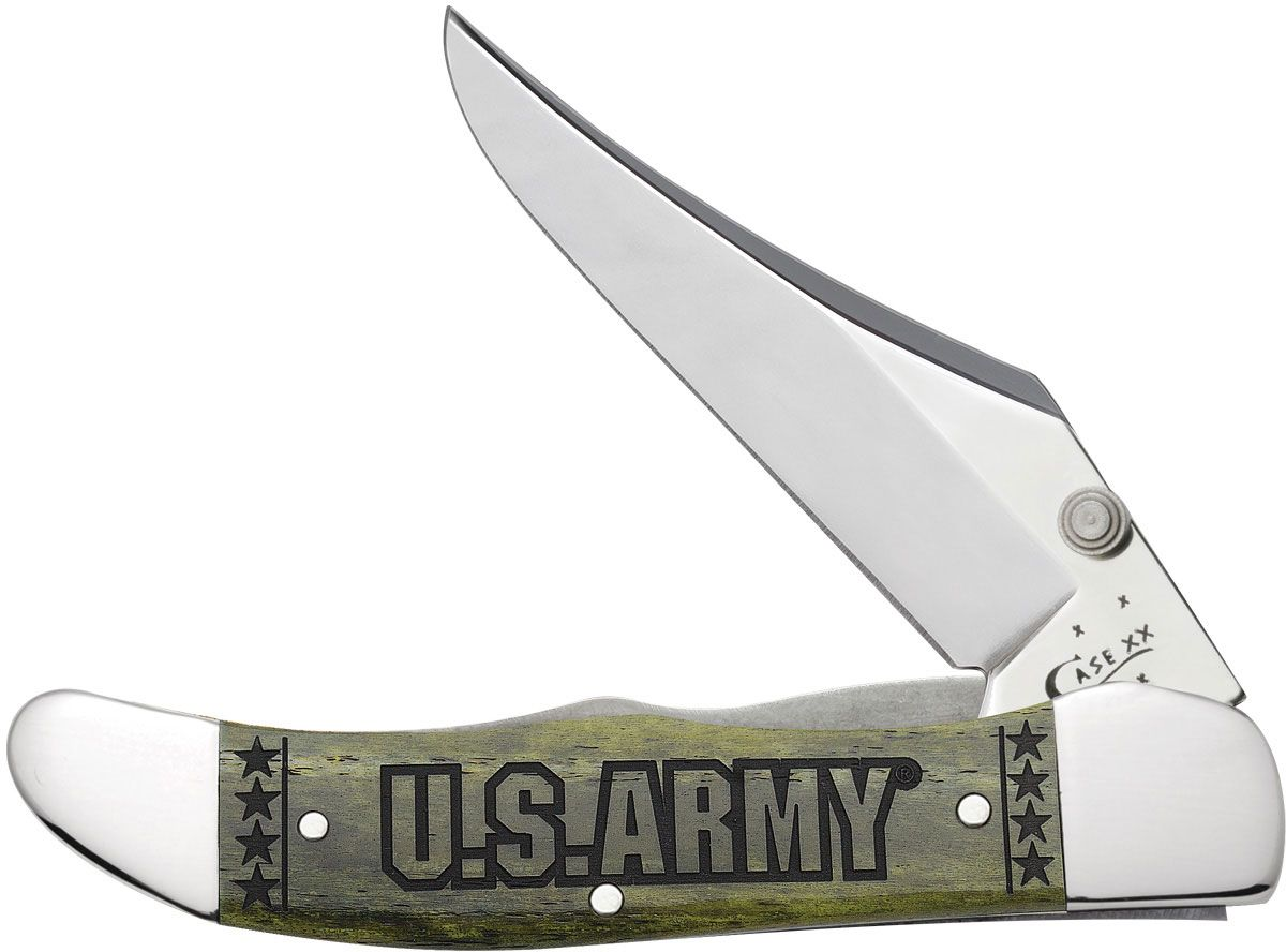 Case US Army Embellished Smooth Olive Green Bone Mid-Folding Hunter with Clip 4 inch Closed (61265LC SS)