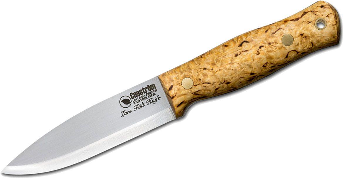 Casstrom Sweden Lars Falt Bushcraft Fixed 4.5 inch K720 Plain Blade, Curly Birch Wood Handles, Leather Sheath