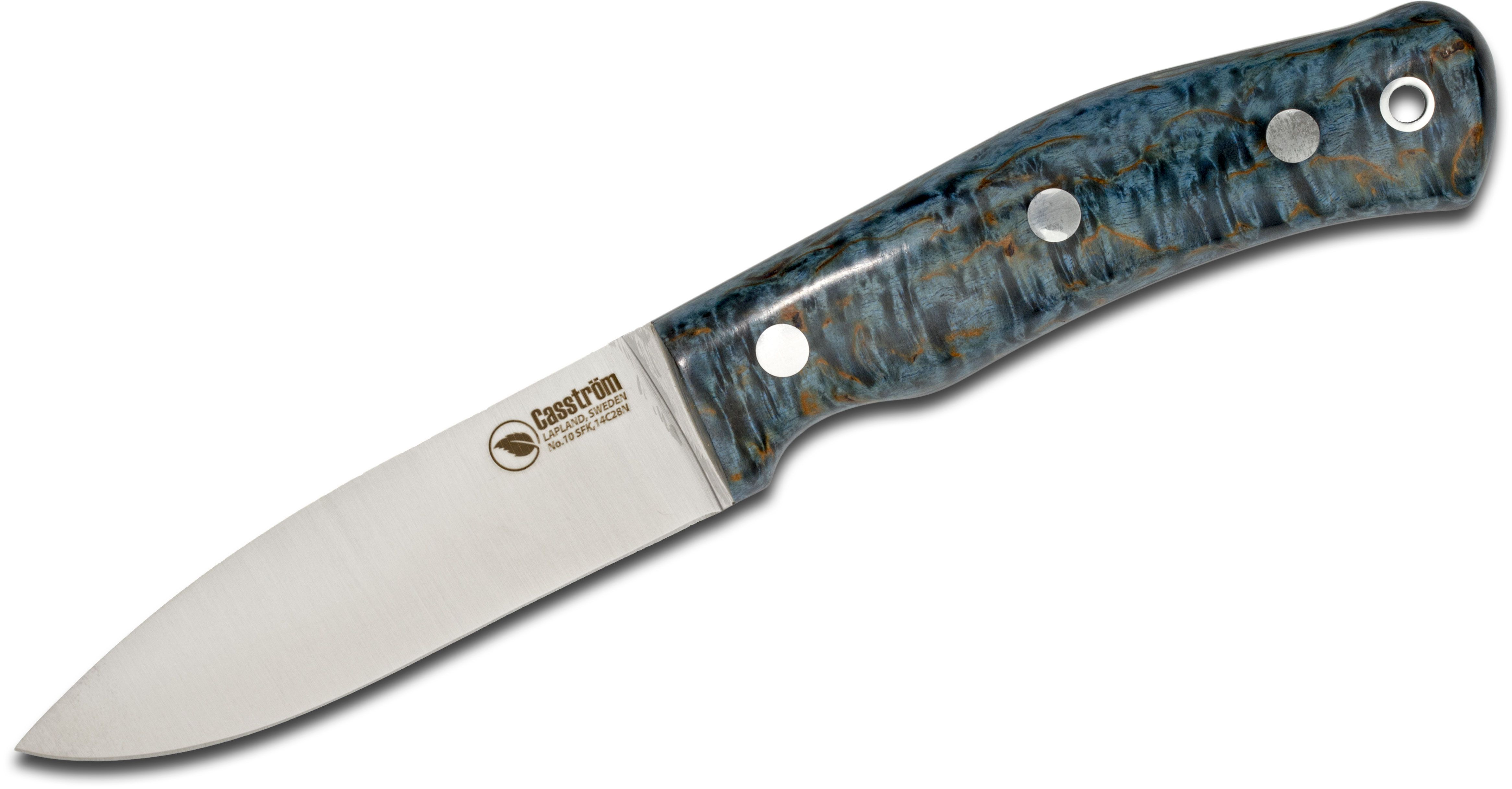 Casstrom Sweden No. 10 SFK Fixed 3.875 inch 14C28N Full Flat Ground Blade, Blue Curly Birch Wood Handles, Black Leather Sheath