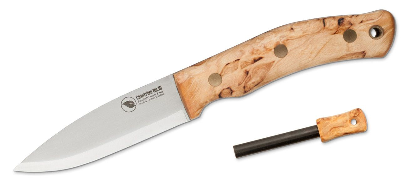 Casstrom Sweden No.10 SFK Fixed 3.875 inch 14C28N Scandi Ground Blade, Curly Birch Wood Handles, Leather Sheath with Fire Steel