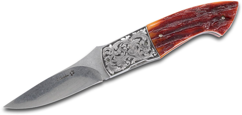 Carlo Cavedon Custom Longimano Front Flipper Knife 3.25 inch N690Co Stonewashed Blade, Jigged Bone Handles with Burin Engraved Stainless Steel Bolsters - CavedonArt