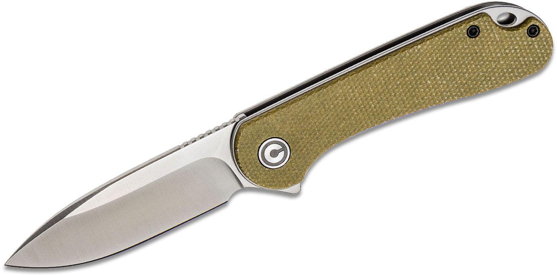 CIVIVI Knives C907S Elementum Flipper Knife 2.96 inch D2 Satin Blade, Olive Micarta Handles