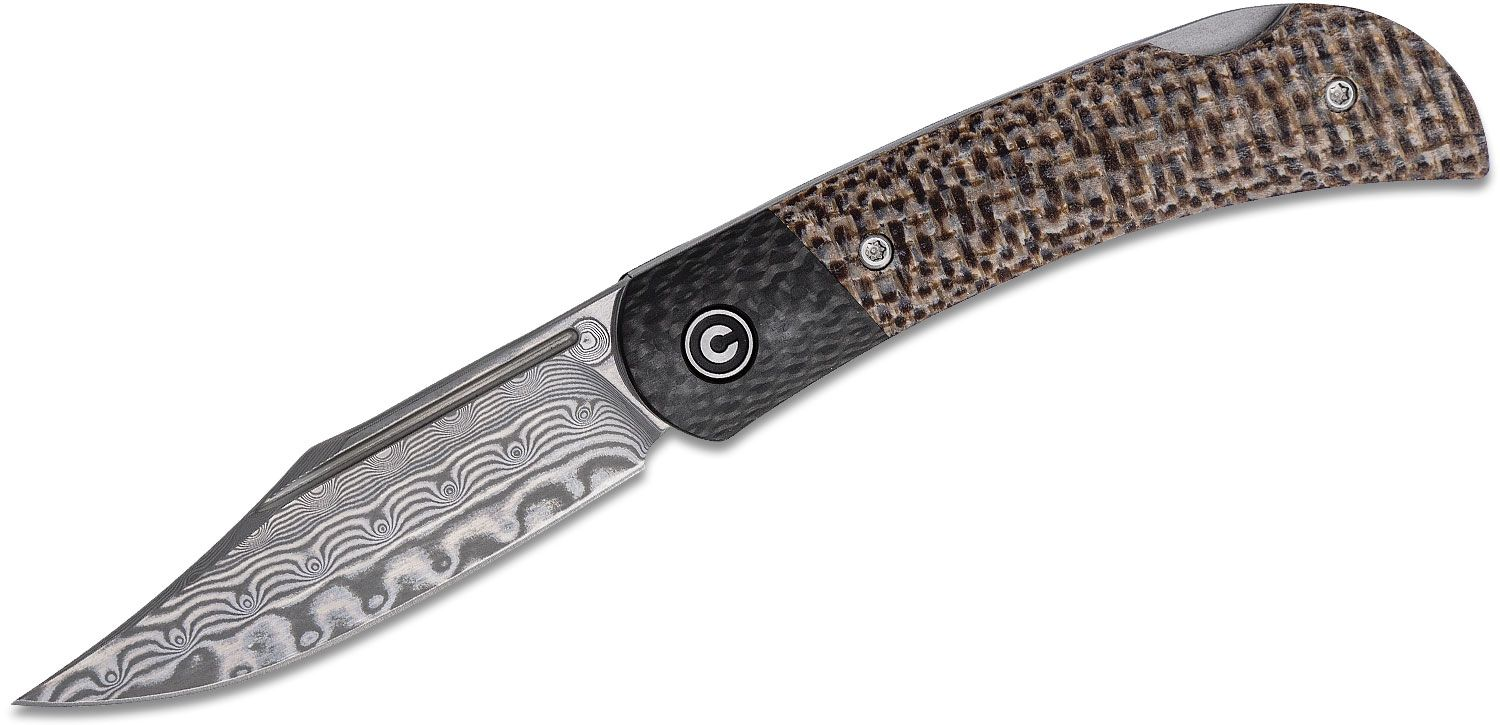 CIVIVI Knives C914DS-2 Rustic Gent Folding Knife 2.97 inch Damascus Clip Point Blade, Tan Micarta Handles with Carbon Fiber Bolsters