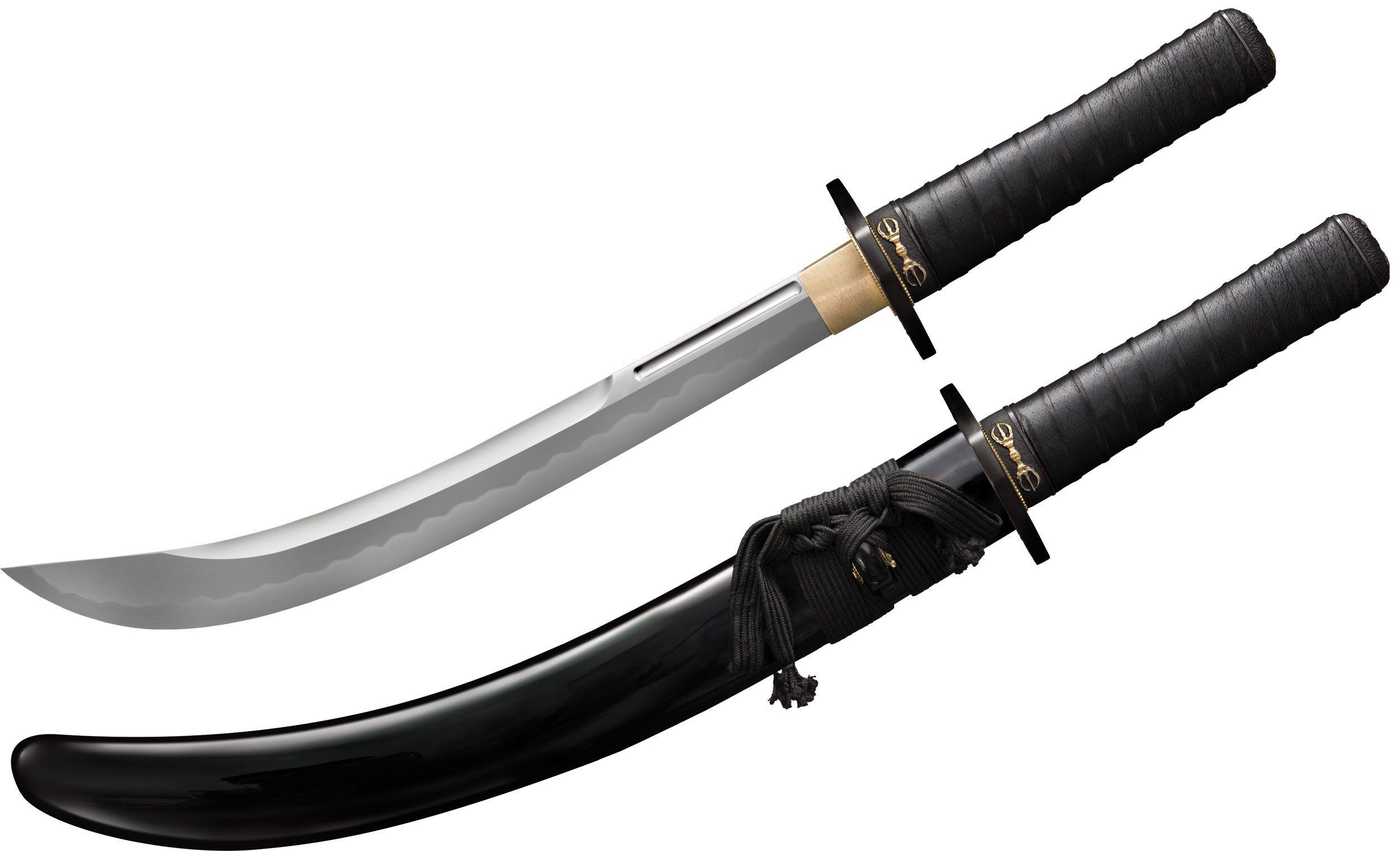 Cold Steel 88PKW Steven Seagal Signature Wakizashi 15.25 inch Damascus Blade, Lacquered Wood Scabbard