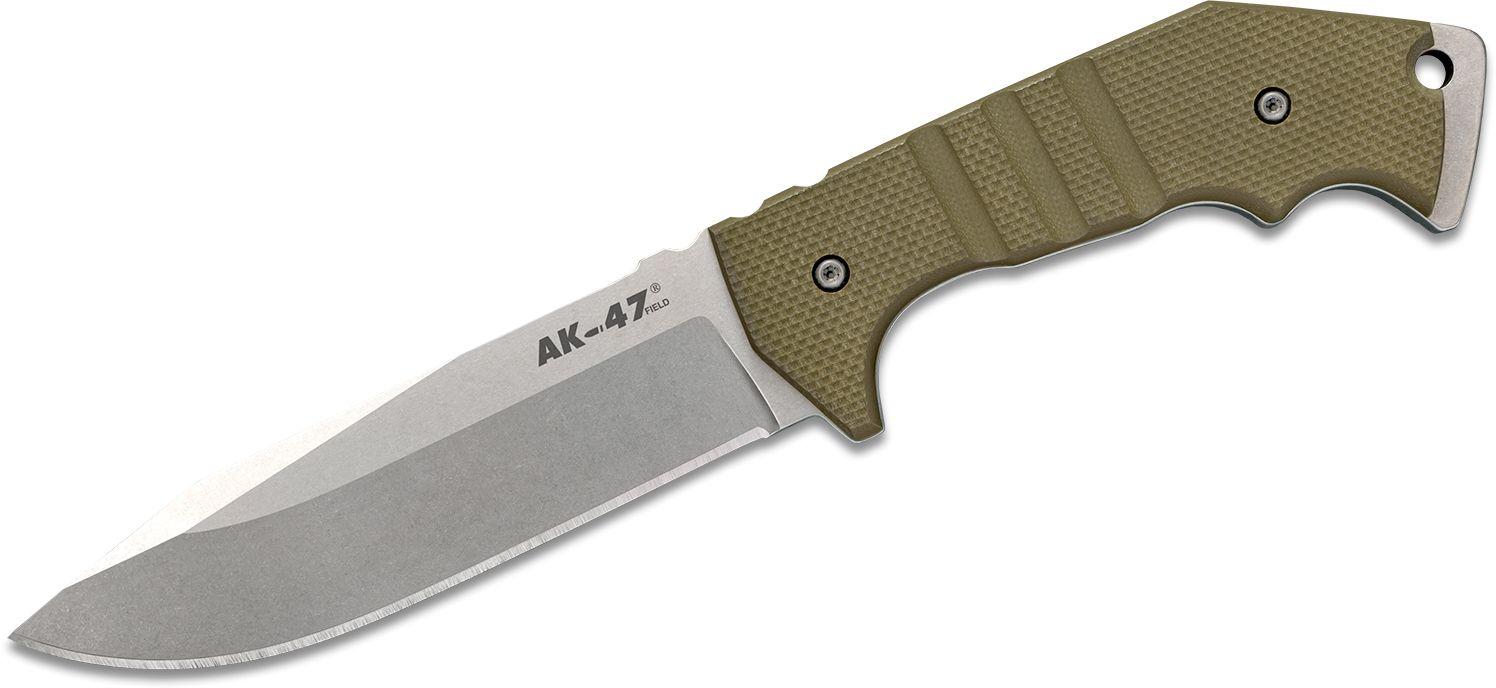Cold Steel 14AKA AK-47 Field Knife Fixed 5.5 inch CPM-3V Stonewashed Blade, OD Green G10 Handles, Secure-Ex Sheath