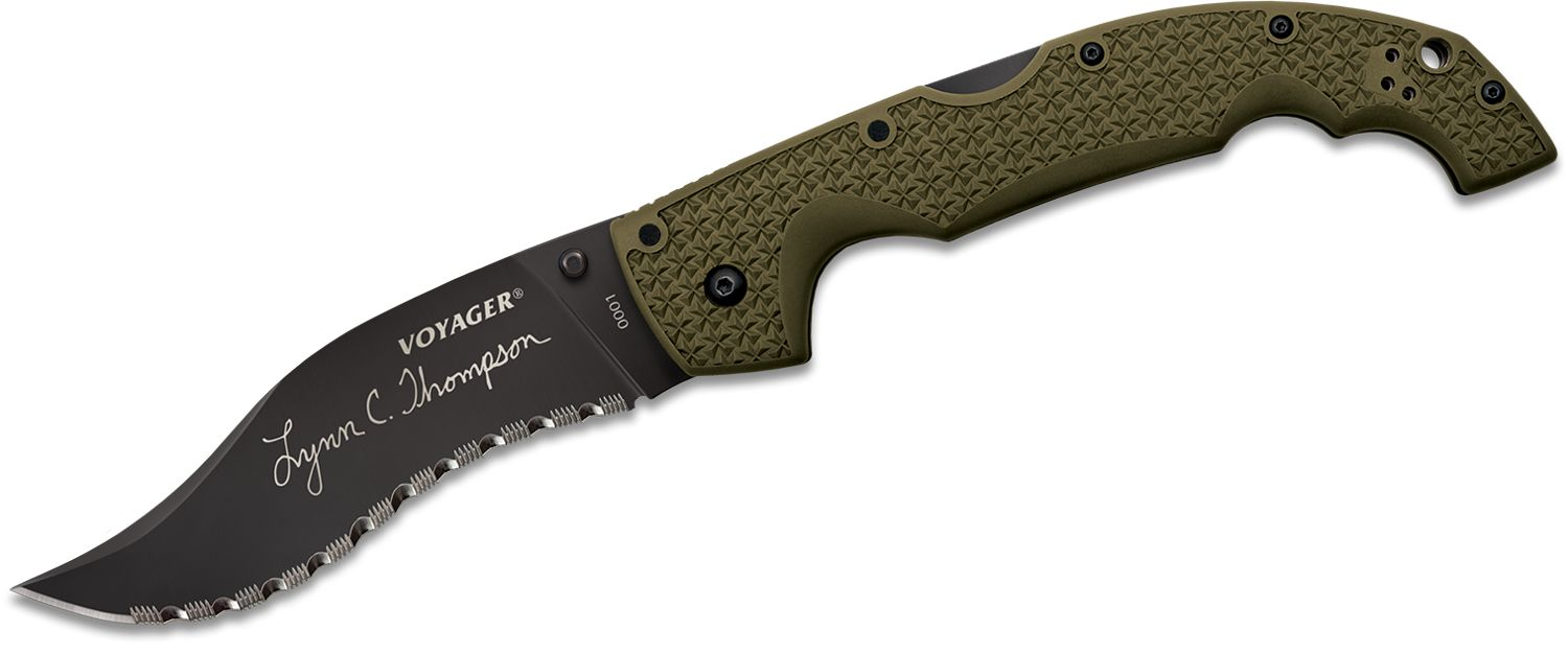 Cold Steel 29UXV Thompson Limited Edition XL Voyager Vaquero 5.5 inch CTS-XHP Black Serrated Blade, Griv-Ex Handles