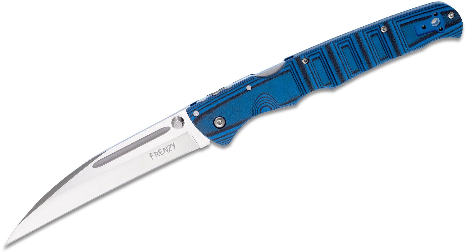 Cold Steel 62P2A Frenzy II Folding Knife 5.5 inch S35VN Satin Plain Blade, Blue/Black G10 Handles