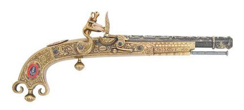 Spanish Made Reproduction Scottish Flintlock Pistol, M1760 In Gold Finish