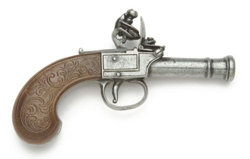 Denix Reproduction Men's Pocket Flintlock Pistol In Gray Finish