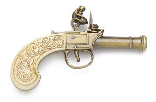 Denix Reproduction Ladies' Pocket Flintlock Pistol In Gold Finish