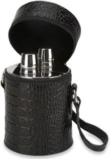 Concord Double 20 oz. Black Crocodile Flask Set