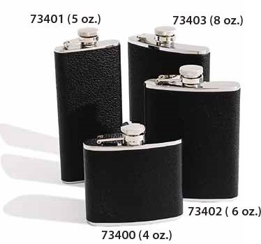 Concord 5 oz. Black Bison Leather Cover Stainless Steel Flask
