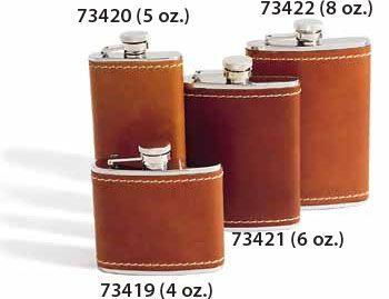 Concord 4 oz. Tan Bison Leather Cover Stainless Steel Flask