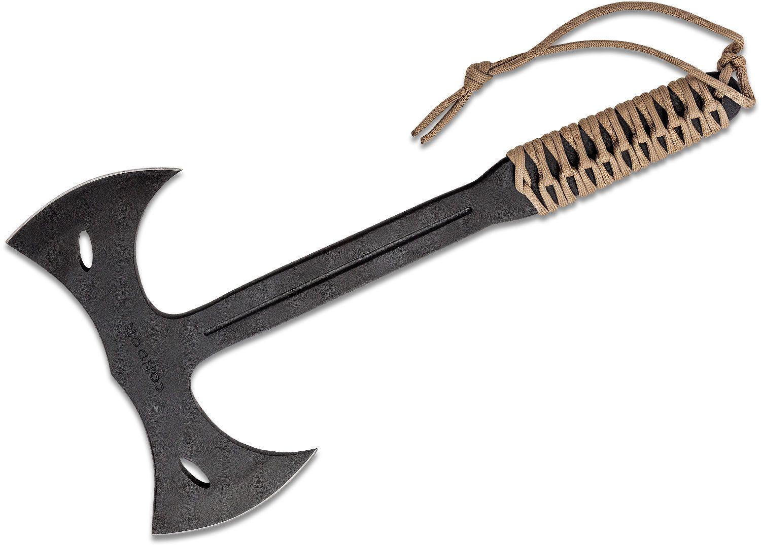 Condor Tool & Knife CTK1402-1.4 Double Bit Throwing Axe 7 inch Carbon Steel Head, Paracord Wrapped Handle, Canvas Sheath