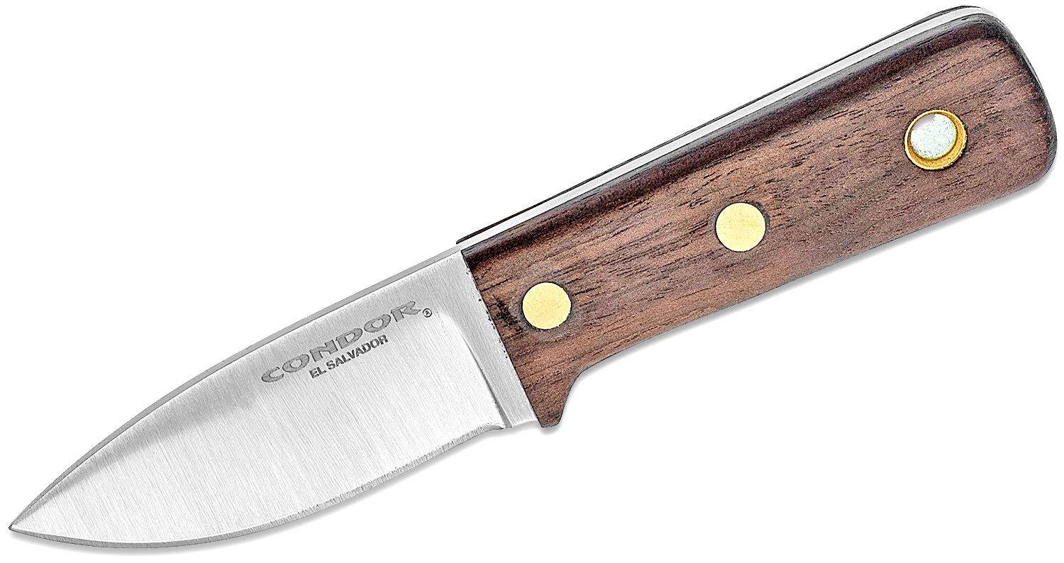 Condor Tool & Knife CTK3936-2.57HC Compact Kephart Fixed Blade Knife 2.57 inch 1095 Carbon Steel, Walnut Wood Handle, Welted Leather Sheath