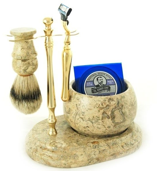 Colonel Conk #250G Handcrafted 5 Piece Marble Shave Set in Fossil, Gold