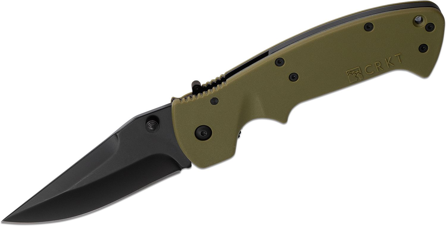 Columbia River CRKT Crawford Kasper Folding Knife 3.75 inch Black Drop Point Blade, Green Zytel Handles