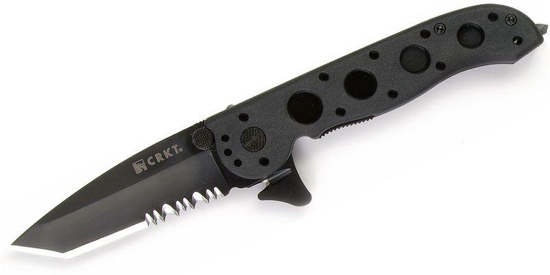 Columbia River CRKT M16-12ZLEK Carson Flipper 3 inch Black Combo Tanto Blade, Black Zytel Handles