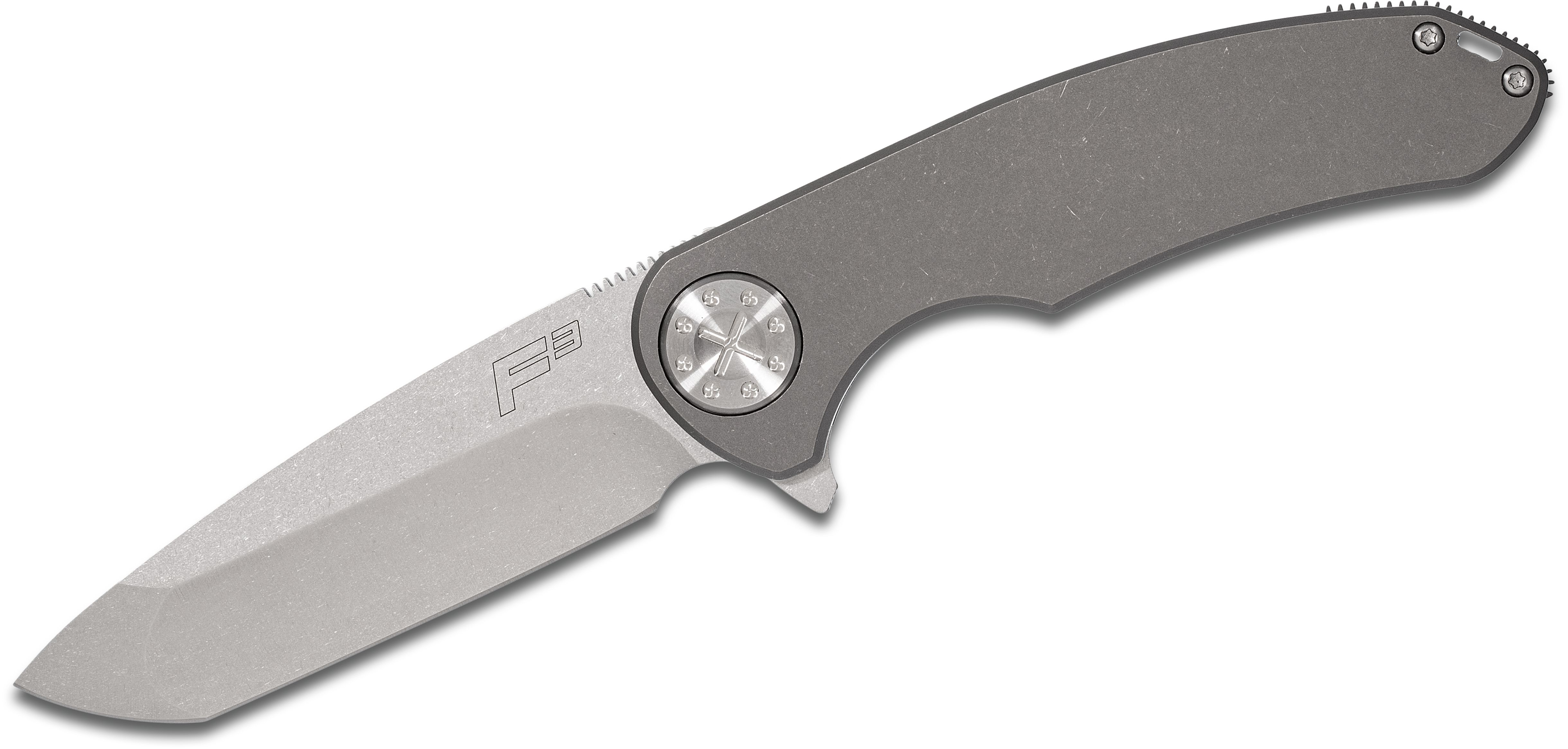 Curtiss Knives F3 Large Flipper 3.75 inch Stonewashed CTS-XHP Compound Ground Blade, Standard Titanium Handles