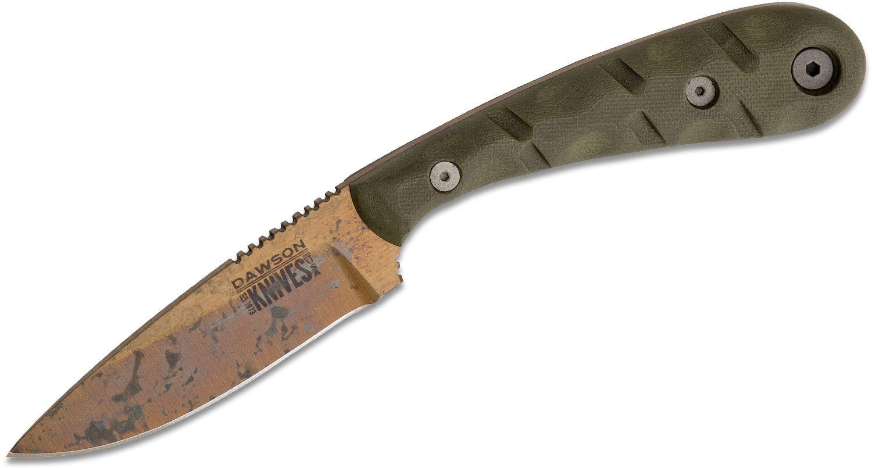 Dawson Knives Custom Serengeti Fixed Blade Knife 3.25 inch CPM-3V Arizona Copper Blade, OD Green G10 Handles, Kydex Inside-the-Pocket Sheath
