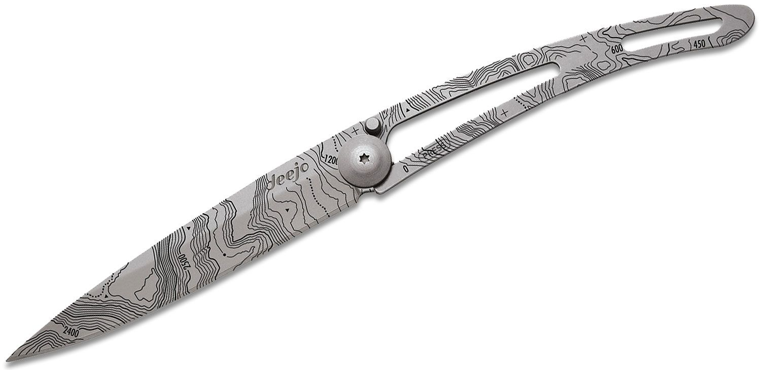 Deejo Knives Tattoo Topography 37g Folding Knife 3.75 inch Matte Finished Drop Point, Stainless Steel  inchNaked inch Handle