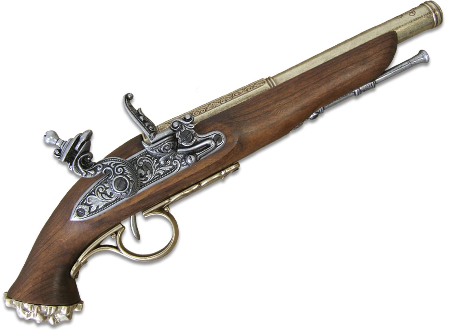 Denix Replica 18th Century Flintlock Pirate Pistol, Brass