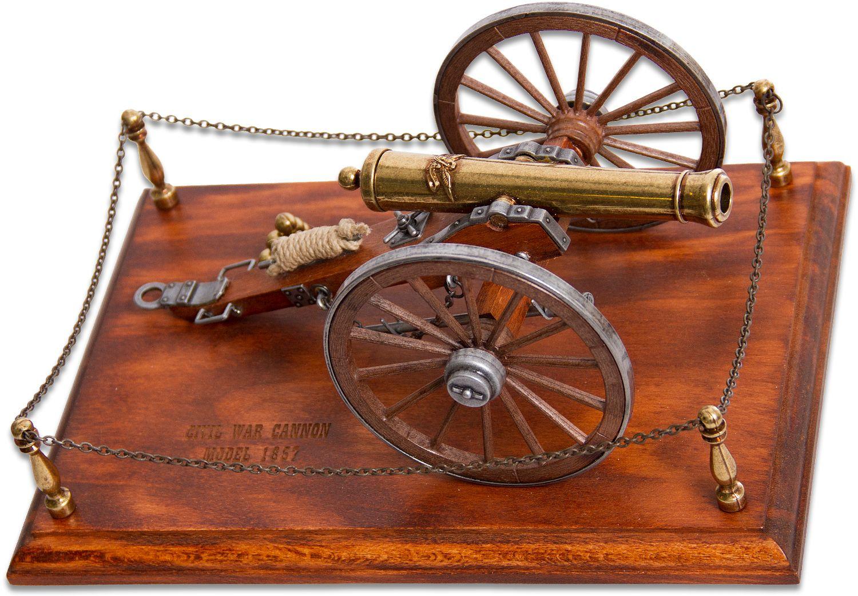 Denix Miniature 1857 American Civil War  inchNapoleon inch Cannon on Wooden Base