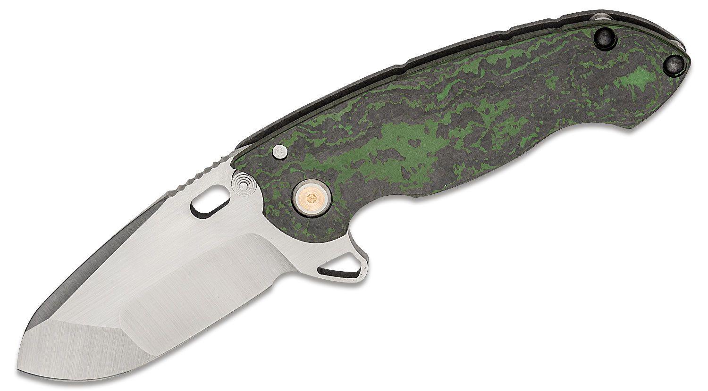 DireWare Custom SOLO Flipper Knife 3.75 inch CPM-20CV Drop Point Blade, Jungle Wear Carbon Fiber and Blasted Titanium Handles, Bronze Pivot Inlays