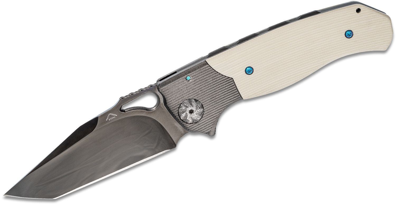 Matt Diskin Custom Revolution Dual-Action AUTO Folding Knife 3.625 inch Black DLC Mirror Polished M390 Tanto Blade, Milled White G10 Handles with DLC Titanium Bolsters, Damasteel Pivots