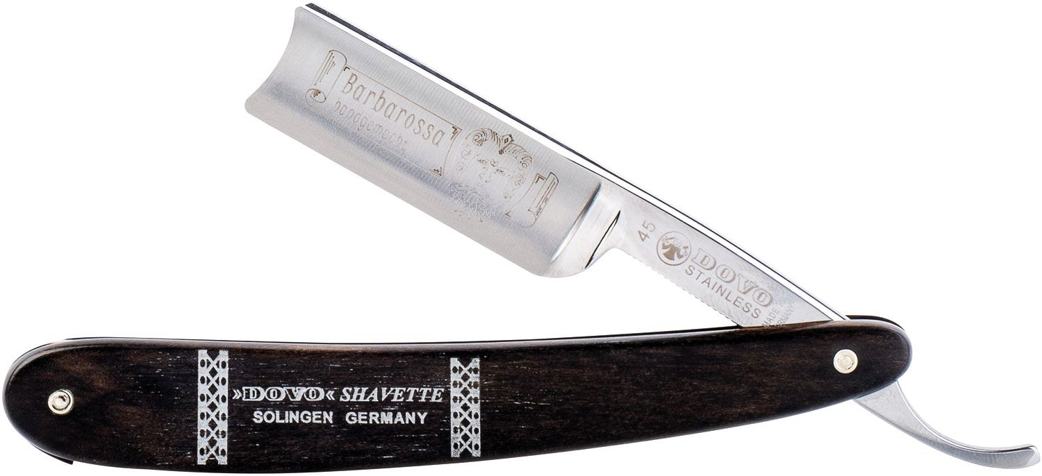 DOVO Barbarossa Straight Razor 5/8 inch Full Hollow Ground Stainless Steel Blade, Spanish Head, Ebony Handles