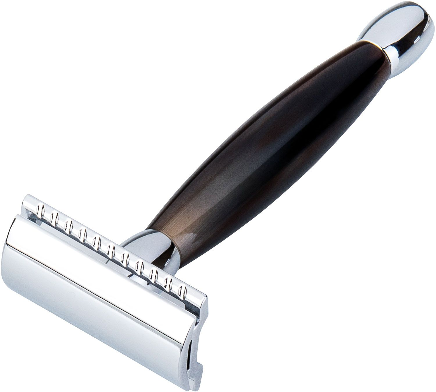 Merkur Safety Razor, Chrome Head, Polished African Cowhorn Handle