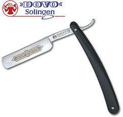 DOVO Straight Razor 5/8 inch Half Hollow Ground Blade, Black Synthetic Handles