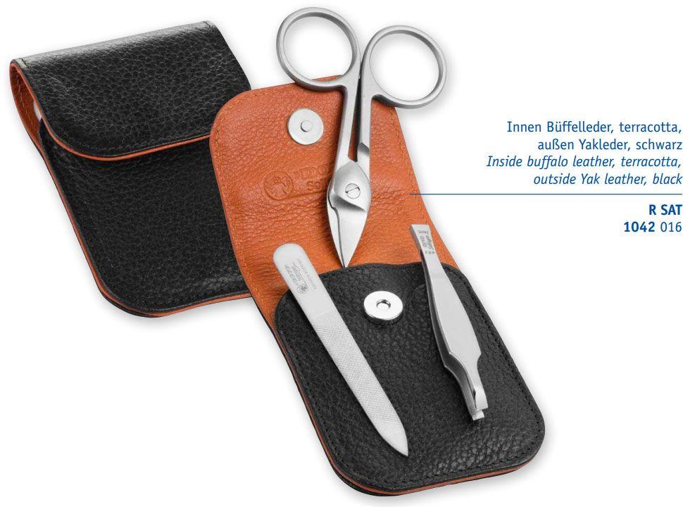 DOVO 1041 056 3-Piece Manicure Set, Cuticle Scissors, File, Tweezers, Black Leather Pouch