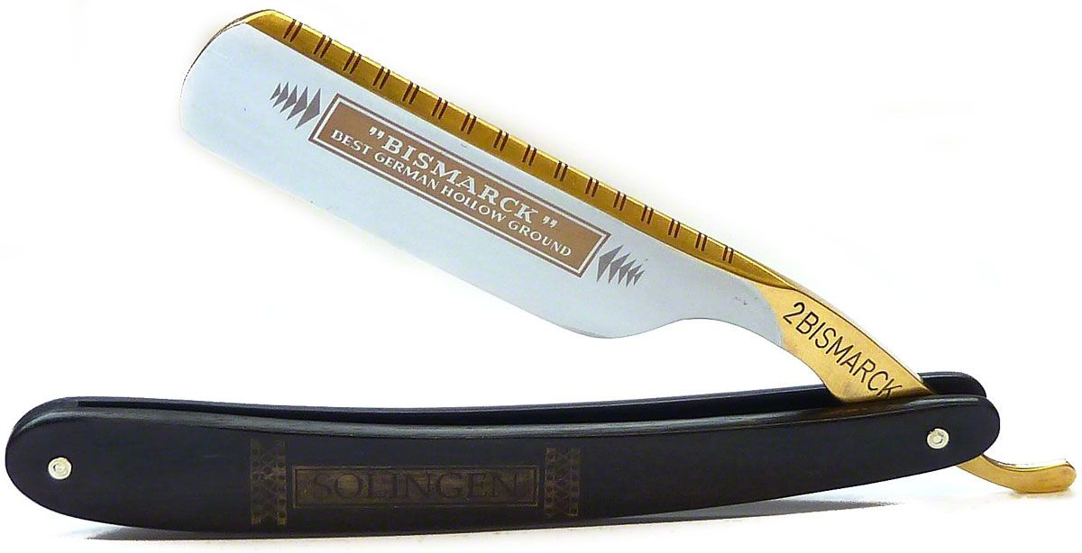 DOVO #2 Bizmark Straight Razor 6/8 inch Full Hollow Ground Carbon Steel Blade, Ebony Wood Handle (26810)