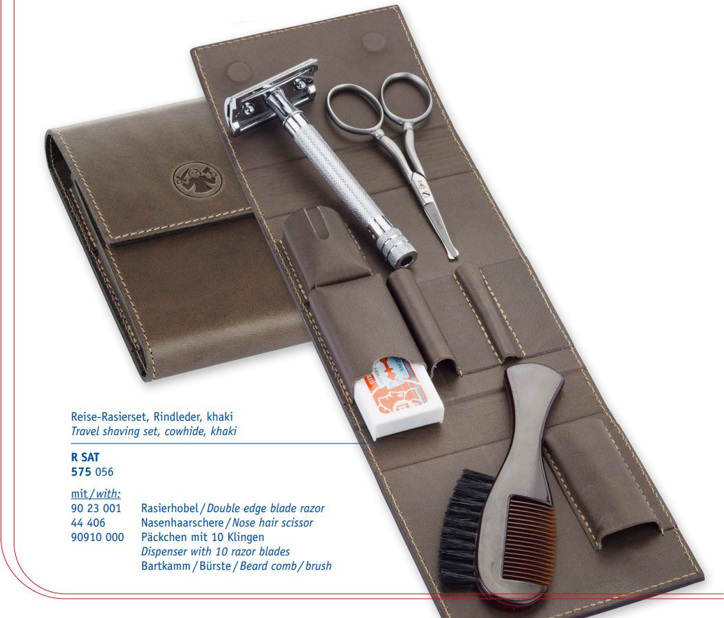 Merkur 23C Travel Safety Razor Shaving Set, Extra Pack of Blades, Brush, Scissors, Leather Pouch