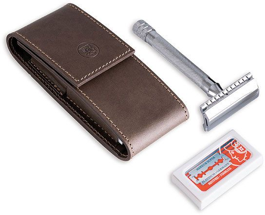 DOVO Travel Shaving Set, Safety Razor, Brown Cowhide Leather Case