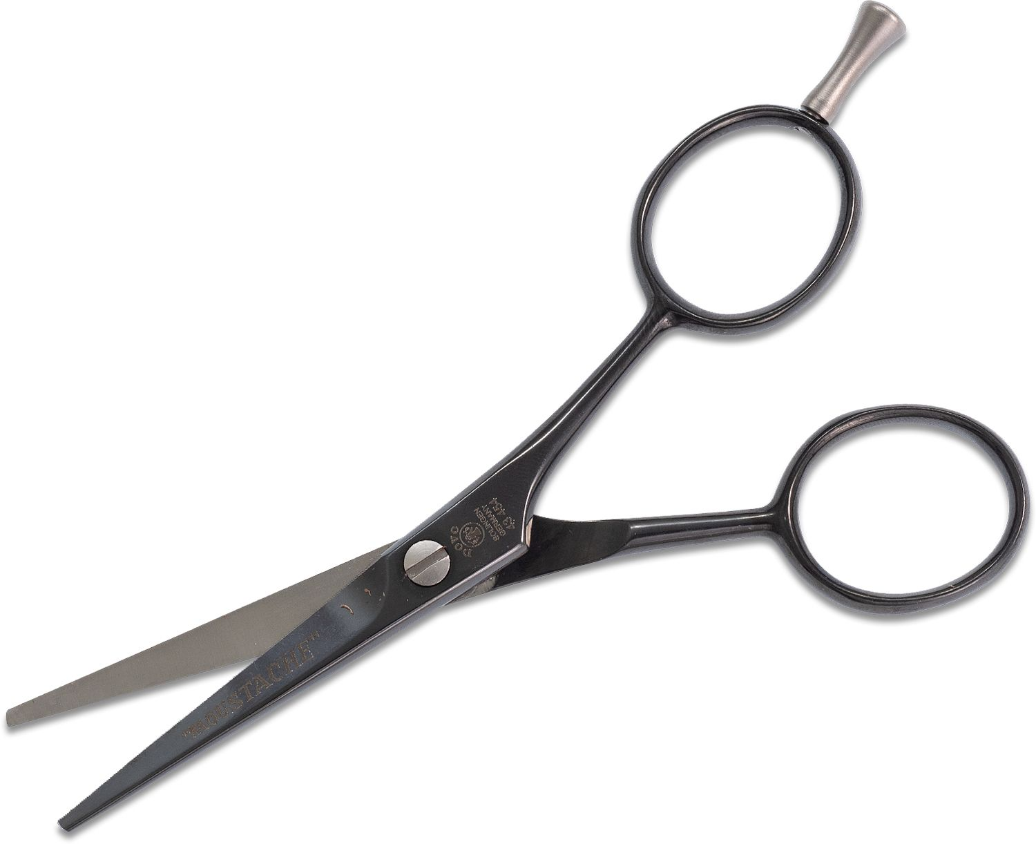 DOVO 4.5 inch Moustache Scissors with Finger Rest, Black Polished, Brown Leather Sheath