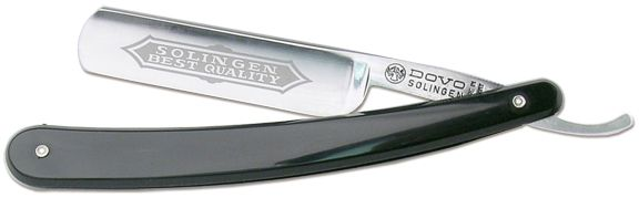 DOVO Best Value Straight Razor 6/8 inch Wide Blade Black Handle